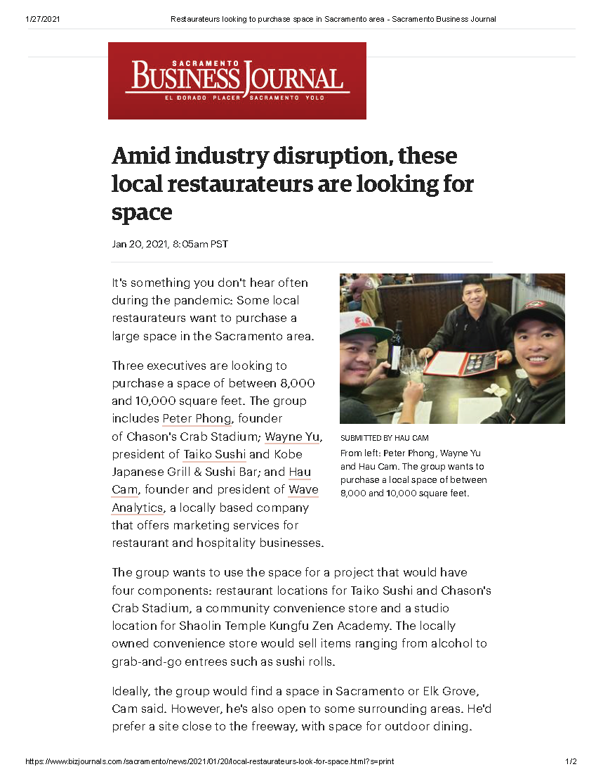 Restaurateurs looking to purchase space in Sacramento area - Sacramento Business Journal_Page_1